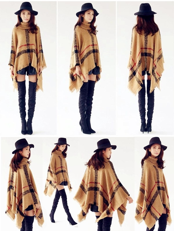 羽織物 大判サイズ フリンジ ポンチョ チェック柄 ニット セーター カーディガン トップス 編み ゆったり コート
