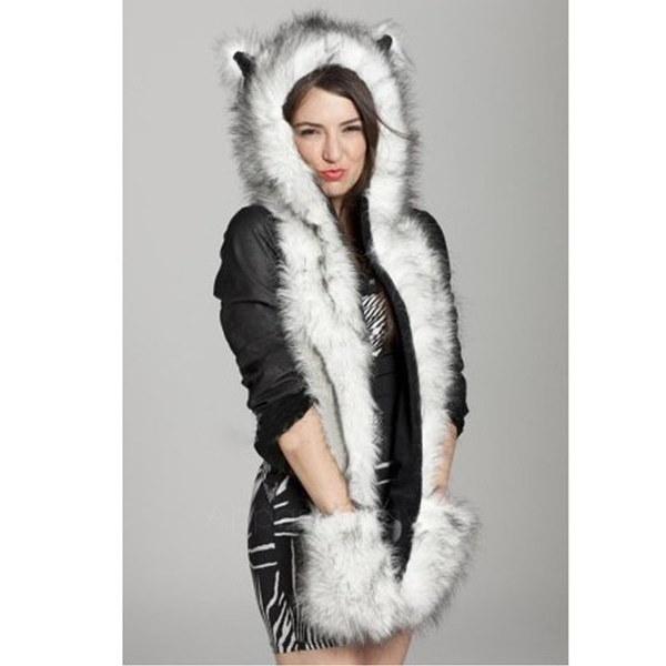 冬の帽子キャップ動物の人工毛皮ワンピースキャップスカーフAP