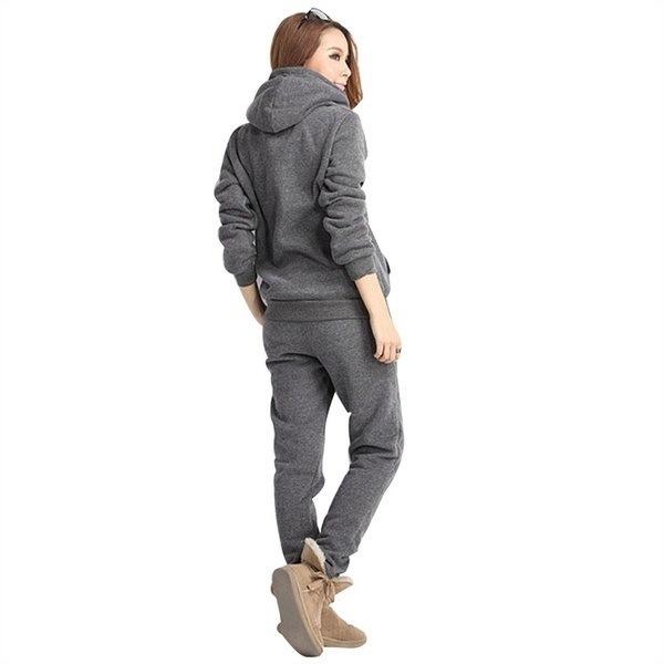 3点セット女性のスポーツウェアフード付きフリース厚手のスウェットシャツ