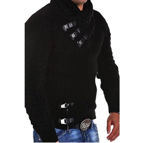 秋と冬新しい男性ツイストフラワーハーフハイトカラーセーターロングスリーブ厚さメンズセルフc