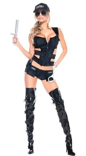 ハロウィーンの女性セクシーな警察のコスプレの衣装ハロウィーンの制服セクシーなスワットオフィサーの女性のコスチュームS