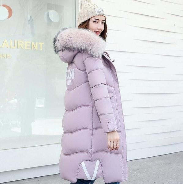 冬の女性は厚くなるコットンコート毛皮をコートする冬は大きなサイズの女性の服厚い膝服を