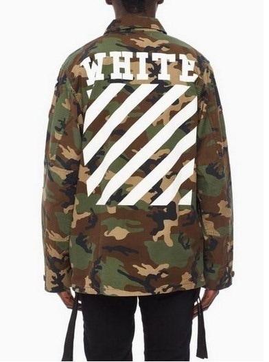 Newfashion Men and Women Fashion Mens Unisex Oversized Boxyfit Off White Camouflage Military Jacket