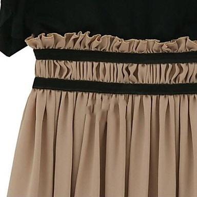 Zian®女性のラウンドネックコントラスト色袖シフォンミディドレス
