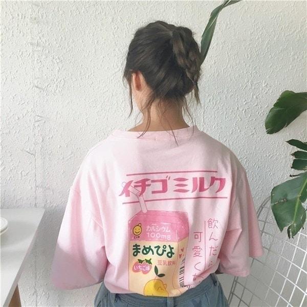 レディースガールズカワイイストロベリーミルクボックスグラフィックフード付きセーターシャツロングスリーブルーズプルーフ