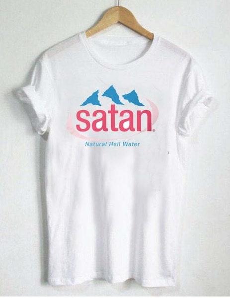 サタンナチュラル地獄水ユニセックスクールなグラフィックTumblrファッション面白いTシャツメンズ女性グランジCasua