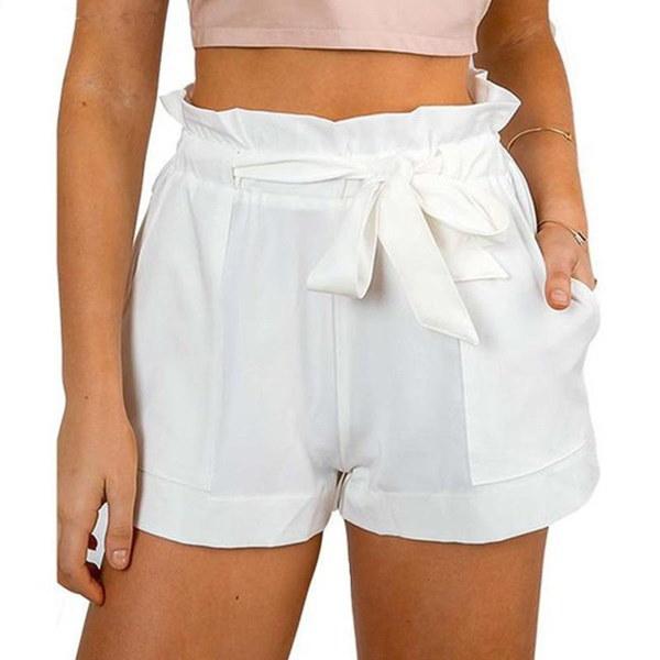 女性セクシーなクレープ織りタイツパンツ夏のカジュアルショーツハイウエストショート