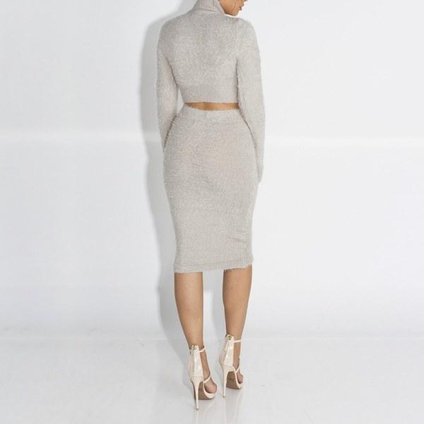 新しいファッション女性2本セータースカートセット秋冬ロングスリーブクロップドトップ+鉛筆スカートニット