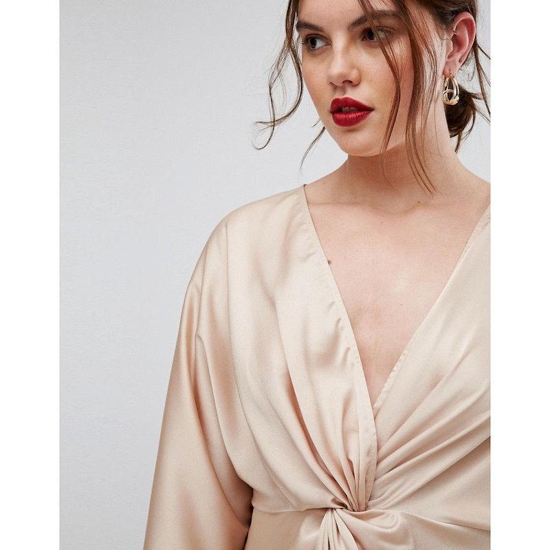 エイソス レディース トップス【ASOS CURVE Twist Front Kimono Sleeve Top】Champagnge