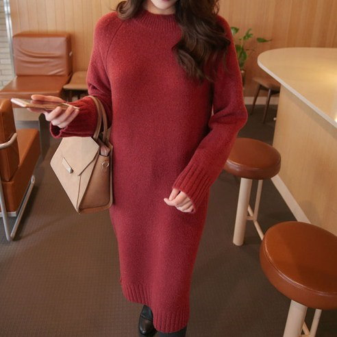[ClicknFunny] Flounian wool knit dress One-piece midi dress (knee length) Korean fashion style