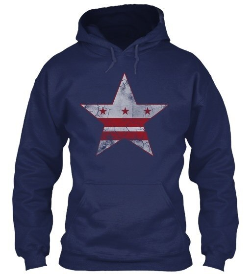 Grunge Flag Of Washington D.c. Gildan Hoodie Sweatshirt