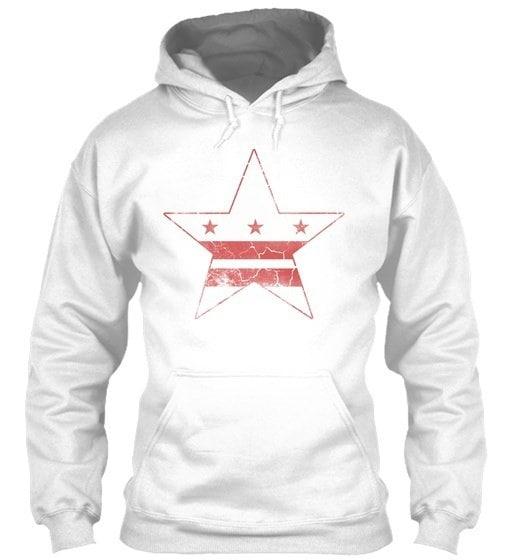 Grunge Flag Of Washington D.c. Gildan Hoodie Sweatshirt