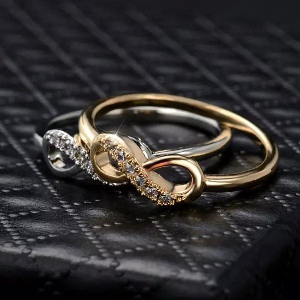 クリスタルジルコンクロスインフィニティラブリングブライドメイド結婚式ロマンチックプリティジュエリーファッションかわいいリング