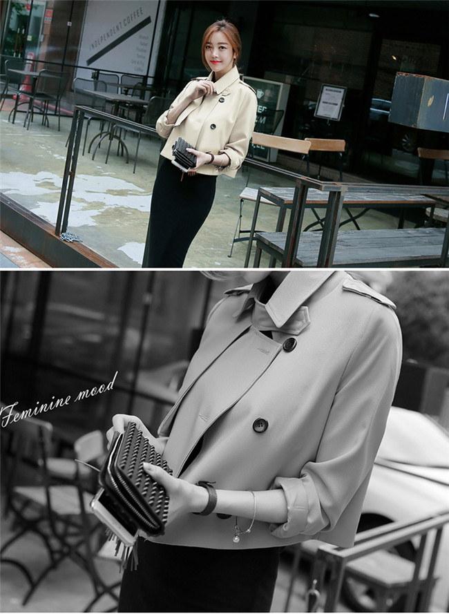 【2016春夏新作】コートジャケット ショートトレンチコート☆スタンダードに着たり、レディーに着たり、カジュアルに着こなしたりとコーディネート力無限大のアイテム。 春ファッション★韓国ファッション リコメンドは今年らしいショート丈!!フラットシューズやスニーカーで着こなしてもバランスよく、合わせるボトムも選びません。SMLXL