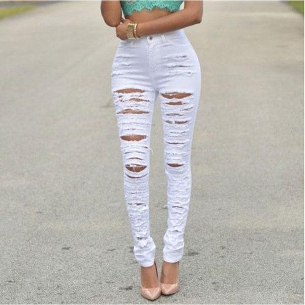 ファッション女性ハイウエストスキニーリップデニムパンツスリム鉛筆ジーンズズボンS  -  XXL