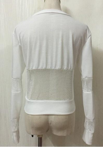 女性ファッションオネックロングスリーブレタープリントプルオーバーフィッシュネットパッチワーククロップドパーカートップス