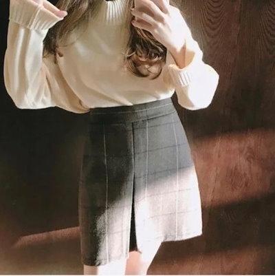 チェックミニスカート 大柄チェック チェック きれいめチェック ミニ丈 グレー ガーリー かわいい 大人かわいい スカート ハイウエスト レディースファッション トレンド 秋 着回し デート 女子会