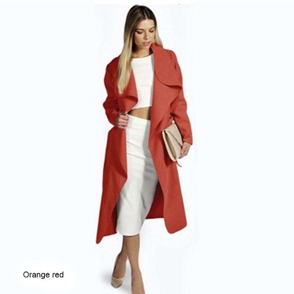 女性の秋の冬のファッション風コートロングコート