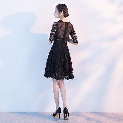エレガント風ブラックドレス 半袖 総レース シースルー 膝上丈 パーティードレス パーティー  ブライダル ウェディング お呼ばれ  結婚パーティー  商品番号2185