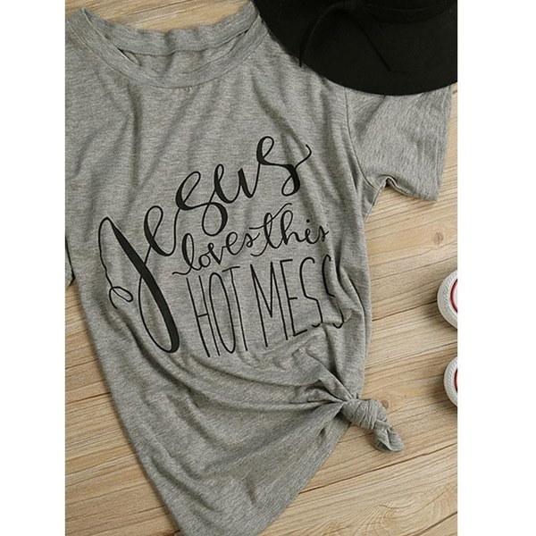 女性のカジュアルなイエスのTシャツのための面白いプリントルーズTシャツ