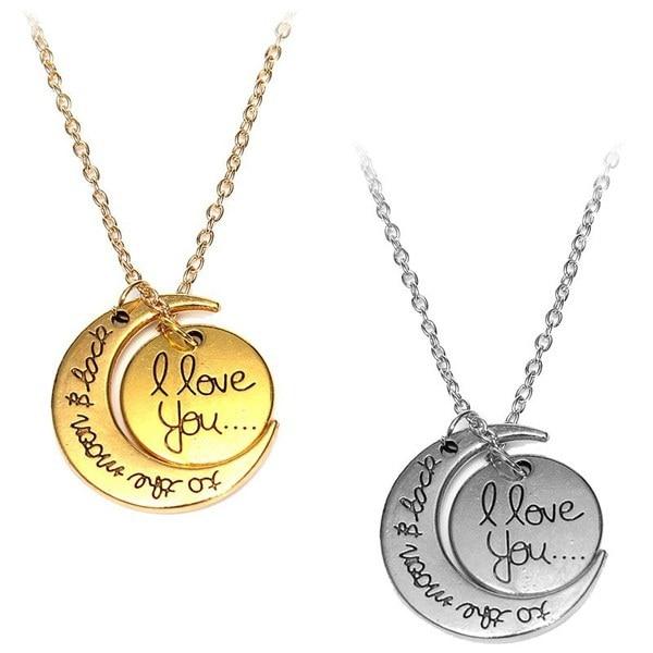 """シルバー&ゴールドトーン """"私はあなたが月と背中を愛して""""ネックレスファッションチャームジュエリーCh"""