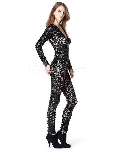 女性のためのブラックソリッドカラー中空アウトセクシークラブボディスーツ