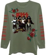 "KISS  Juniors  Rock Band Group Pose ""Rock and Roll All Night"" Long Sleeve Graphic T-Shirt with Embro"