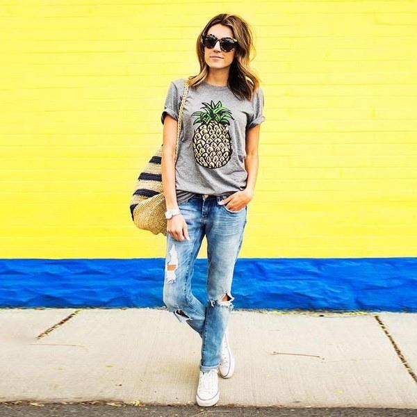 Women Casual Round Neck Short Sleeve Pineapple Print T-Shirt