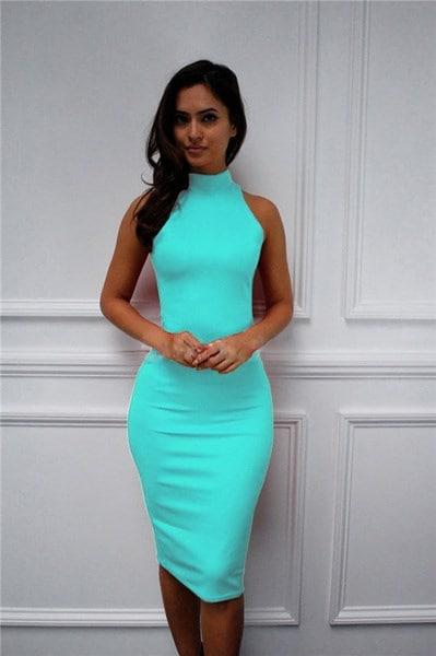 スリムオフショルダーホルター膝丈ドレスファッション女性ハイカラーボディコンドレスミディドレス