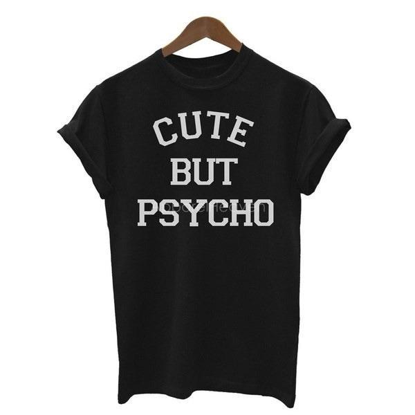女性ファッション半袖白黒Tシャツレタープリント可愛いがサイコ