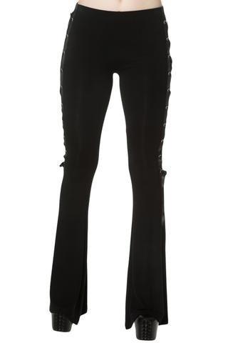 新しいファッション女性ゴシックスチームパンクパンクブラックサイドコルセットストレッチベルボトムパンツカジュアルハイワイ