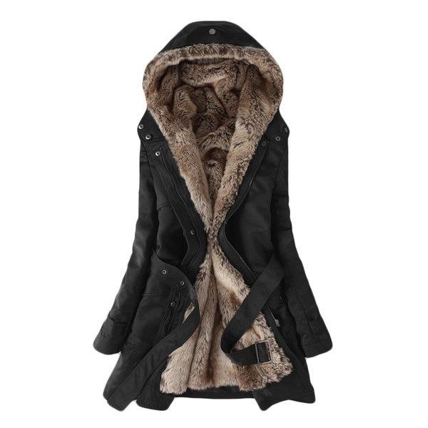 高品質の女性のファッション冬暖かいフード付き包帯パーカカジュアルロングコート