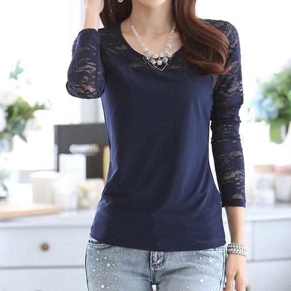 ファッション女性ルーズプルオーバーロングスリーブTシャツトップスシャツブラウス