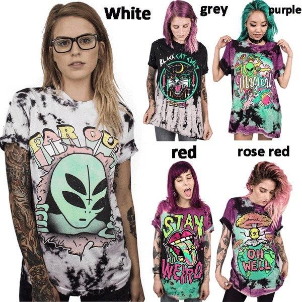 エイリアンデジタルプリントパンクTシャツルーズプラスサイズカジュアルショートスリーブラウンドネックTシャツ