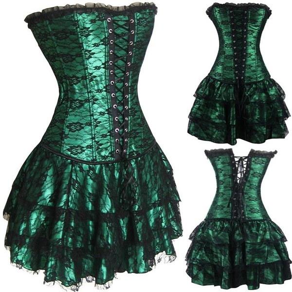 ホットセールグリーンレッドレース夕方セクシーな女性コルセットとビスチェプラスサイズゴシックコルセットドレスをプッシュアップ