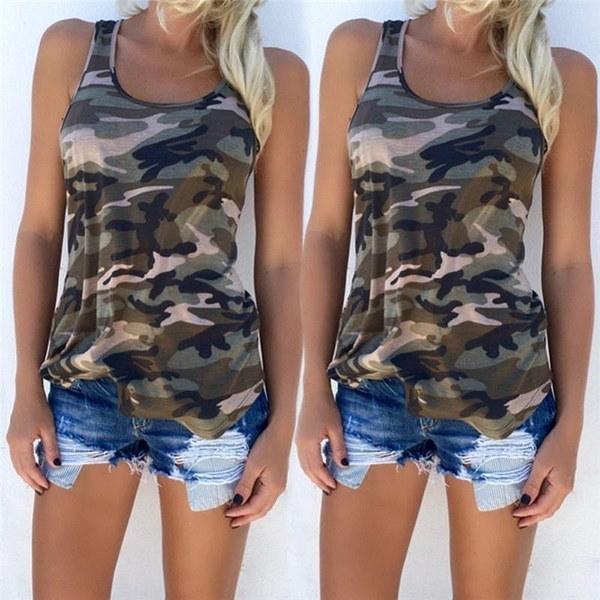 ファッションカジュアルアーミーカモカモフラージュタンクトップノースリーブOネックスリムシャツ