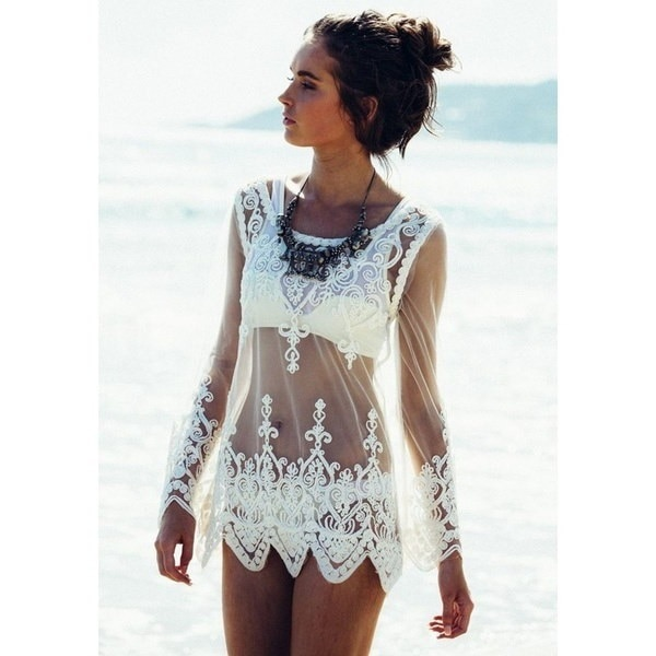 Translucent Gauze Long Sleeved Embroidered Lace Sexy Lace Woman Blouse