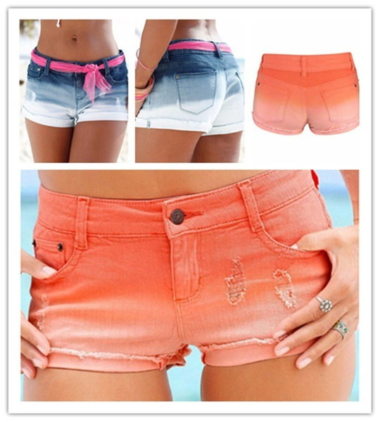 セクシーな女性低ウエストジーンズショーツアメリカンスポーツジーンズズボン夏のカジュアルスキニーデニムホットパンツ