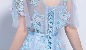 花柄 5分袖 パーティードレス 編み上げ フォーマル ブライズメイドドレス 結婚式 二次会卒業式 花嫁の介添え 着痩せ 30代 20代 司会 刺繍半袖ドレス お呼ばれ ワンピース