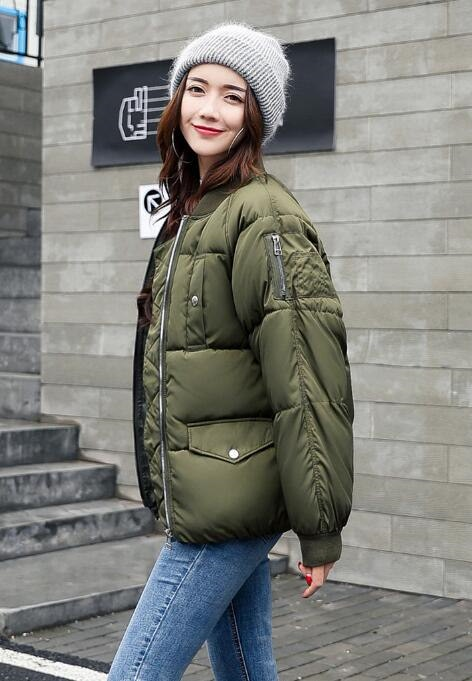 [55555SHOP]2017秋と冬の新しい綿の服の女性の短い段落韓国のファッションスリムコットンの学生長袖ジャケットのコート
