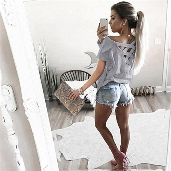 Lady Sexy Backless Hollow Out T Shirts Women Summer Casual Tee Shirt Ladies Slim Solid Color Blusas