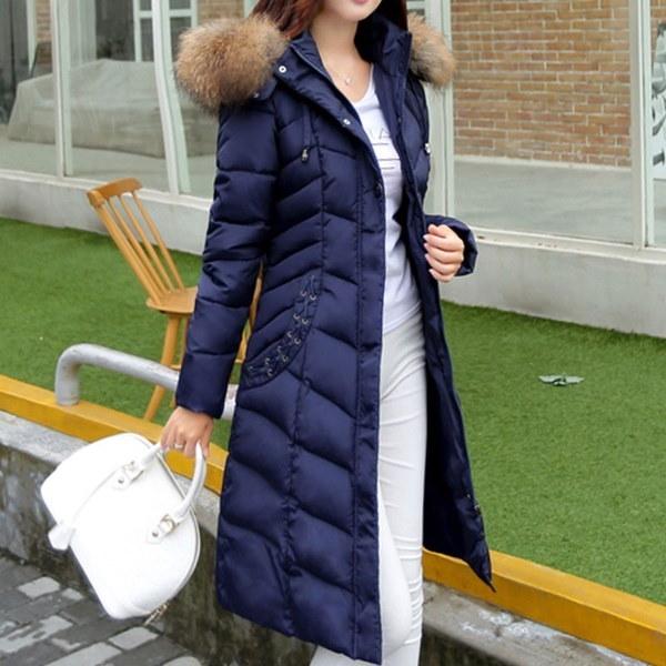 ファッションウィンターロングスタイルマキシパーカースリムシックフードダウンジャケットコートファーカラーパットコットン