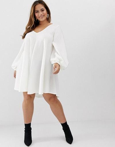 エイソス レディース ワンピース トップス ASOS DESIGN Curve textured mini v neck swing dress