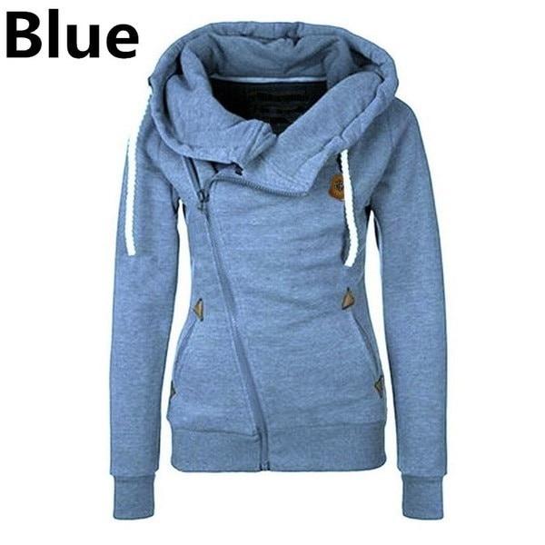 Cotton Side Zipper Women s Sports Hooded Cardigan Sweater S-5XL
