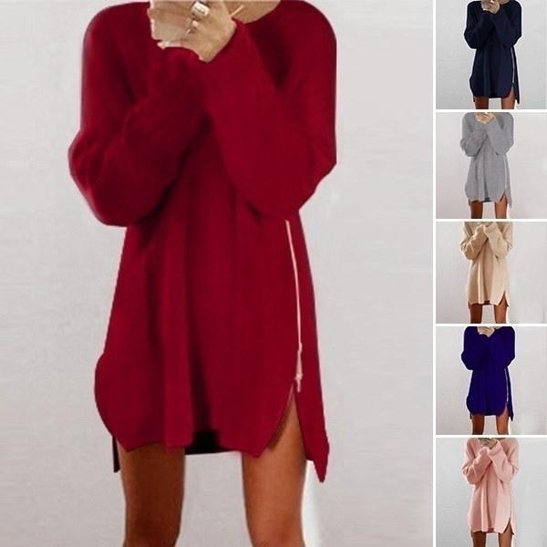ジャッキー女性は暖かい膝のポリエステルプレーンニットジッパーセータードレスの上に緩い