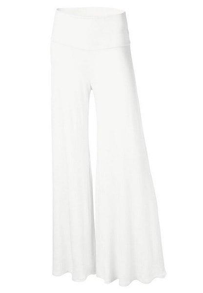 女性のファッションワイドレッグフレア快適なヨガのダンスフォールドダウンウエストパンツ