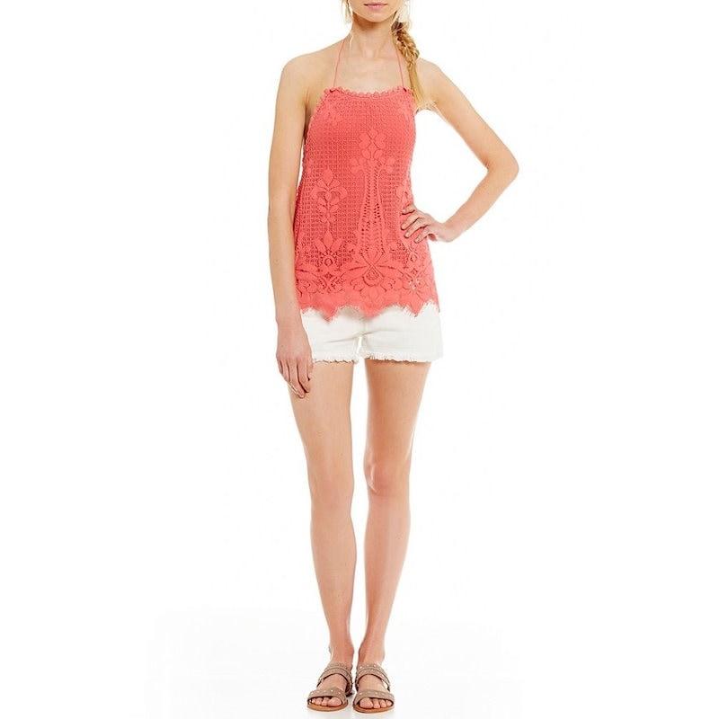 チェルシーアンドバイオレット レディース トップス ブラウス【Chelsea & Violet Scalloped Embroidered Lace Halter Top】Watermelon