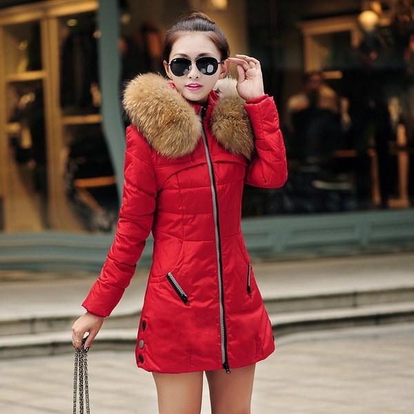 女性ウィンターロングコットンパッド入りスリムコートフェイクファーフード付きウォームダウンジャケットウインドプルーフコート