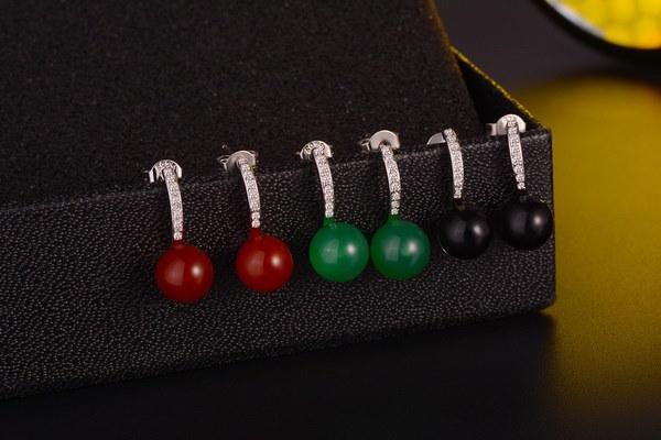 1ペアファッション925シルバーナチュラル宝石ホワイトサファイアレッドグリーンブラックジェイドイヤスタッドイヤリングJe