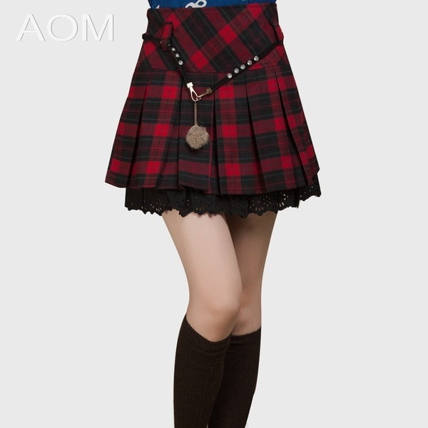 Hot Sell New Spring Autumn and Winter Plaid Short Skirt Women s Fashion 2015 Plus Size High Waist Pl